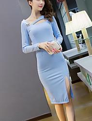 Sign 2016 Autumn new Korean Slim sexy halter-neck dress female hollow oblique