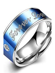 billige -Dame Båndringe Krystal minimalistisk stil Brude Mode Titanium Stål Alfabetformet Smykker Julegaver Bryllup Fest Speciel Lejlighed