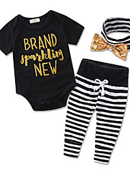 cheap -Girls' Party Daily Formal Striped Clothing Set, Cotton Polyester Summer Short Sleeves Stripes Bow Black