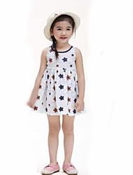 cheap -Girl's Daily Floral Dress, Cotton Linen Summer Sleeveless Floral White