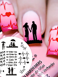 cheap -1 Pc BP71 Love Theme Couple Heart Nail Art Stamping Template Image Plate Cute Birds Image Stamp Plate