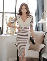 2015 summer new Korean fashion trend Slim sexy stitching stripe dress long section of female