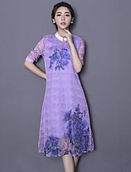 Signe cheongsam robe 2016 printemps nouveau rétro collier mince femme imprimé robe de soie