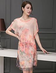2017 summer new loose short-sleeved silk retro summer dress printed silk dress women