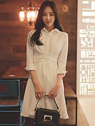 Primavera sinal 2017 senhoras de compras coreano temperamento vestido bandage magro longa seção branca de mangas compridas