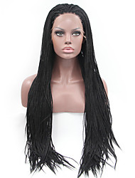 cheap -Sylvia Synthetic Lace front Wig Black Braided Hair Straight Smallest Braids Heat Resistant Synthetic Wigs