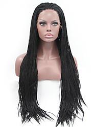 Femme Perruque Synthétique Lace Front Long Raide Noir Pour Cheveux Africains Ligne de Cheveux Naturelle Perruque tressée Tresses