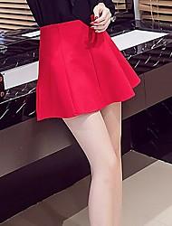 preiswerte -Damen Hohe Hüfthöhe Ausgehen Lässig/Alltäglich Mini Röcke A-Linie einfarbig Riemengurte Sommer