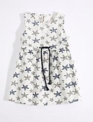 cheap -Girl's Daily Dress, Cotton Linen Summer Sleeveless Floral White