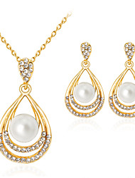 Women's Jewelry Set Classic Fashion Party Gift Daily Office & Career Imitation Pearl Rhinestone Gold Plated Alloy Drop 1 Necklace 1 Pair