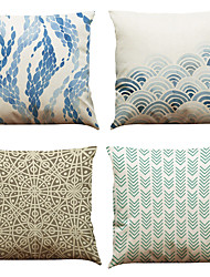 "Set of 4 Blue Wave Ocean Geometry  Printed Throw Pillowcases Creative Decoration (18""*18"")"
