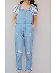 yoke Sign 2017 spring new light-colored overalls female