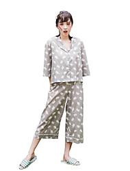 Women's Sleepwear Suit Cute Elephant Pattern Button Up Loose Sweet Pajama Set