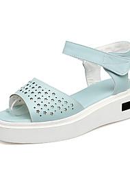 baratos -Mulheres Sapatos Courino Primavera / Verão Conforto / Chanel / D'Orsay Sandálias Creepers Peep Toe / Dedo Aberto Vazados / Pregueado /
