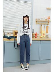 лимон знак +2017 весной студенты новой леди свежим студентов колледжа темно-синие джинсовые брюки девять очков