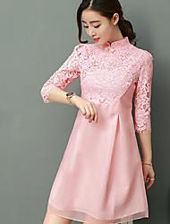 2017 donne della molla nuove signore merletto del pannello esterno del vestito da sera di banchetto abiti da damigella abito cheongsam