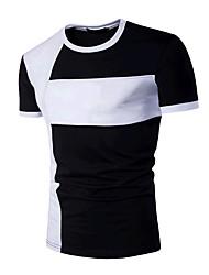 billige -Rund hals Herre - Farveblok Aktiv Sport T-shirt Bomuld