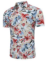 cheap -Men's Daily Beach Casual Summer Shirt,Floral Classic Collar Short Sleeves Cotton Polyester Thin