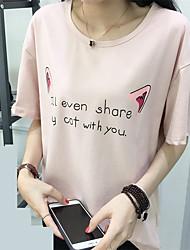 T-shirt real do verão do tiro verão 2017 das senhoras das mulheres letras novas dos desenhos animados impressas maré compaixão frouxa