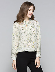 Sign spot new summer fashion floral print V-neck lace sleeve chiffon blouse wild tide