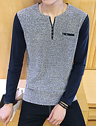 -P35- New men's casual long-sleeved T-shirt Orange Hotel