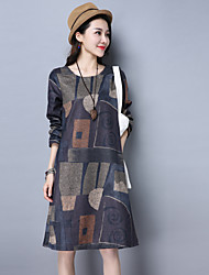 Sign 2017 spring new large size printing long-sleeved dress