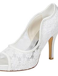 Da donna-Tacchi-Matrimonio Formale Serata e festa-Club Shoes-A stiletto-Raso elasticizzato-Avorio