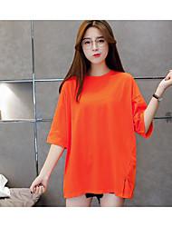 2017 verão novas cartas coreano impressa blusa solta t-shirt longo da seção de vestido das mulheres