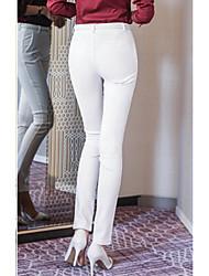 Femme Style de Bureau Taille Normale Extensible Skinny Pantalon,Moulante Couleur unie Couleurs Unies