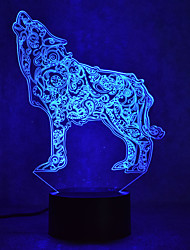 cheap -Wolf Touch Dimming 3D LED Night Light 7Colorful Decoration Atmosphere Lamp Novelty Lighting Light
