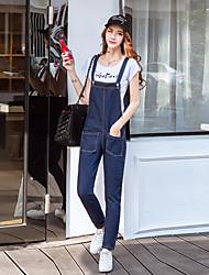 segno 2017 sottile coreano studenti bretelle denim della tuta 9 vita alta nove gamba larga pantaloni casual 9093