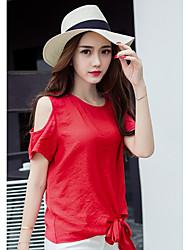 знак 2017 лето новой небольшой рубашки шифон рубашка корейская версия была тонкая рыхлые вокруг шеи без бретелек с короткими рукавами