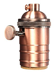 Red Bronze E26/ E27 Industrial Light Socket Metal Shell Vintage Edison Pendant lamp Metal holder With Knob switch