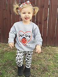 cheap -Girls' Party Daily Going out Animal Print Clothing Set, Cotton Polyester Spring Fall All Seasons Long Sleeves Cartoon Animal Print Gray