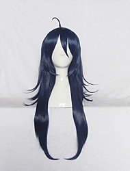 Parrucche Cosplay Cosplay Cosplay Blu inchiostro Lungo Anime Parrucche Cosplay 70 CM Tessuno resistente a calore