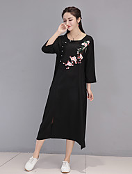 Spot really making 2017 spring and summer female Chinese national wind embroidery big yards loose cotton dress