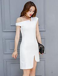 Sinal 2017 primavera nova europeia e americana vestido grande temperamento saia irregular oblíqua vestido feminino primavera