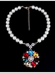 abordables -Mujer Diamante sintético Collares con colgantes / Collares Declaración - Perla Artificial Flor Diseño Único, Moda, Euramerican Arco Iris Gargantillas Para Fiesta, Ocasión especial, Cumpleaños