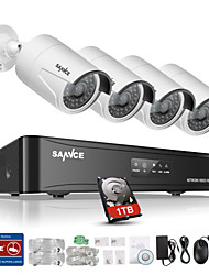cheap -SANNCE® New 4CH CCTV NVR System POE 1080P Video Output Waterproof IP Camera with 1TB