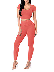 cheap -Women's Daily Sports Sexy Street chic Summer Fall T-shirt Pant Suits,Solid Round Neck Short Sleeve Polyester Micro-elastic