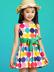 cheap -Girls' Dot Beach Polka Dot Sleeveless Dress