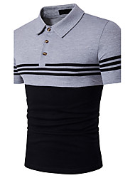 Men's Casual/Daily Sports Simple Active Summer Polo,Striped Color Block Shirt Collar Short Sleeve Cotton Rayon Thin