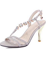 cheap -Women's Shoes Leatherette Spring Summer Light Soles Sandals Stiletto Heel Open Toe for Casual Gold Silver Pink