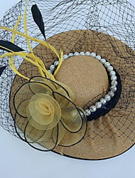 Tulle Imitation Pearl Feather Net Fascinators Hats Birdcage Veils Headpiece