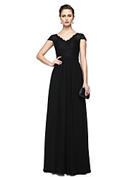 Sheath / Column V-neck Floor Length Chiffon Lace Formal Evening Dress with Lace Sash / Ribbon Pleats by TS Couture®