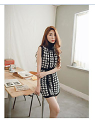 Chidori knit high collar bandage dress