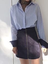 cheap -Women's Daily Wear Classic & Timeless Shirt,Stripe Shirt Collar Long Sleeves N/A Medium