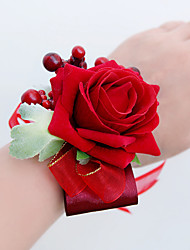 cheap -Wedding Flowers Free-form Roses Wrist Corsages Wedding Party/ Evening Red Satin