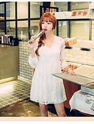longa seção sinal outono nova V-neck cintura saia boneca Vestido coreano rendas de manga comprida mulheres