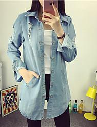 2016 new large size women's Harajuku style single-breasted long coat denim jacket female tide